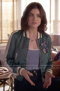 Aria's green embroidered bomber jacket on Pretty Little Liars