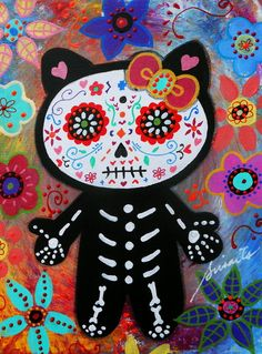 HELLO KITTY DIA DE LOS MUERTOS PAINTING Art Print