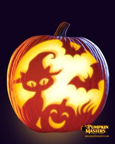 """""""Spooky Kitty"""" pattern from the Pumpkin Masters Carving Party Kit."""