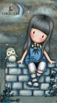 My Kilian loved Owls Illustrations, Illustration Art, 3d Model Character, Cute Cartoon Girl, Ideias Diy, Cute Images, Digi Stamps, Rock Art, Cute Drawings