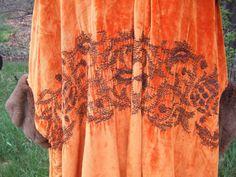 1910's Silk Velvet, Sheared Beaver Trim OPERA CAPE | eBay (embroidery detail)
