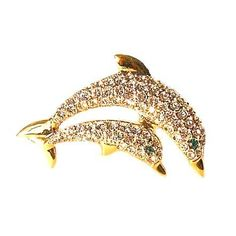 Dolphins Brooch Mother & Child Pin Baby 24K Gold Swarovski Crystals Jewelry W... Dazzlers. $29.50. Each pin is hand set with Sparkling Swarovski Crystals & hand enameled.. Exquisite, limited edition item which is sure to grow in value over time.. 100% Satisfaction Guaranteed Or Your Money Back. Arrives In Padded Presentation Box With Certificate Of Authenticity. Bonded Seller, Stocked On Site, Quick Delivery & Gift Wrapping is optional.