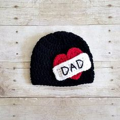 Crochet Dad Heart Tattoo Beanie Hat Father's Day Newborn Baby Infant Toddler Child Photography Photo Prop Handmade Baby Shower Gift