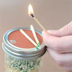 matches in a mason jar with strikeable lid.