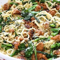 Broccoli Rabe and Chicken Sausage Parsnip Spiralized Pasta – loved this quick and easy dish made with spiralized parsnips from the new Inspiralize Everything cookbook! If you don't like the bitterness of broccoli rabe, broccolini or broccoli would also work in it's place. 7 Smart Points • 265 calories (1 1/3 cups) http://www.skinnytaste.com/broccoli-rabe-and-sausage-parsnip-spiralized-pasta/ (link in profile) #F4F #dinner #nomnomnom #instafollow
