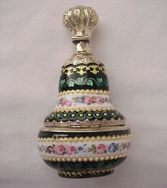 Magnificent French Vermeil Silver and Limoges Enamel Scent Bottle with from richardwbell on Ruby Lane