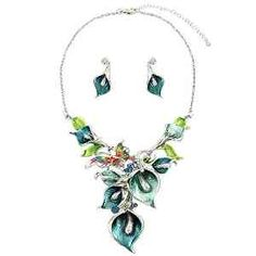 Statement Calla Lily Seafoam Mint Blue Crystal Butterfly Silver Chain Necklace Flower Earrings Set