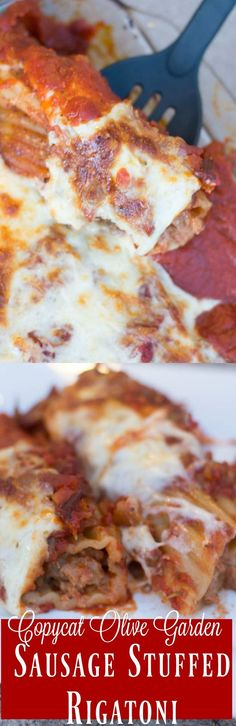 This is one of the best Olive Garden copycat recipes out there - Olive Garden giant sausage stuffed rigatoni recipe. Its an easy copycat restaurant recipe that is perfect baked recipe for dinner. Rigatoni Recipes, Pasta Recipes, Dinner Recipes, Copycat Recipes, Great Recipes, Favorite Recipes, Yummy Recipes, Kitchen Recipes, Cooking Recipes