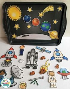 """Try these fun outer space theme vocabulary activities - includes mini book, cute rocket craft and center activities. Perfect for """"World Space Week! Space Vocabulary, Vocabulary Activities, Speech Therapy Activities, Interactive Activities, Play Therapy, Articulation Activities, Space Theme Preschool, Space Activities, Preschool Activities"""