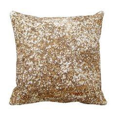 Gold, Bling-Diamond-Glitter-Shine Throw Pillows #GlitterBedroom
