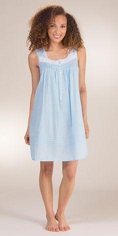 5eb1b69249 Swiss Dot Eileen West Cotton Sleeveless Waltz Gown - Blue Cantata Caftan  Dress