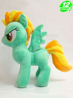 My Little Pony Lightning Dust Plush Fabulous flyer Lightning Dust is now available in plush form! This green pegasus has yellow and orange streaked hair and a very determined expression. The perfect addition to your My Little Pony toy collection. - Plush is approx 12 inches / 30 cm tall. - Brand new with tags. - Ages 6 & up.