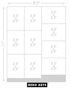 "cutting guide for a standard 8.5"" x 11"" sheet of cardstock that yields ten ATCs."