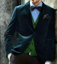 New Mens Wear Wedding Green Velvet Jacket Sports Coat Blazer Full Tuxedo -B124