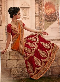 Designer Net with Velvet Orange and Red Lehenga Saree Lehenga Style Saree, Red Lehenga, Party Wear Lehenga, Bridal Lehenga, Saree Wedding, Lehenga Choli, Wedding Wear, Desi Wedding, Anarkali Suits