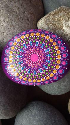 hand painted mandala stone dotillism zen by on Etsy Mandala Art, Mandalas Drawing, Mandala Painting, Pebble Painting, Dot Painting, Pebble Art, Stone Painting, Mandala Painted Rocks, Mandala Rocks
