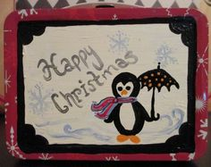 Merry Christmas Penguin Lunchbox Style Metal by OurBurrowDesign
