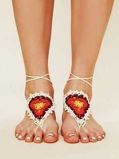 Multicolor hand crochet sun foot tie. A fun, bohemian accessory to throw on during those summer musical festivals.