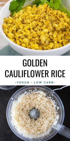 This Golden Cauliflower Rice is a delicious low-carb alternative to regular rice! Ras el Hanout gives the cauliflower a beautiful color and rich taste. | ElephantasticVegan.com #vegan #cauliflower #rice