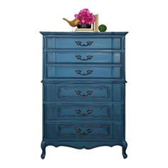 French Provincial Bassett Furniture Blue Chest of Drawers For Sale Modern Wood Furniture, Mid Century Modern Furniture, Vintage Furniture, Painted Furniture, Furniture Ideas, Blue Chest Of Drawers, Blue Chests, Bedroom Dressers, Bedroom Furniture