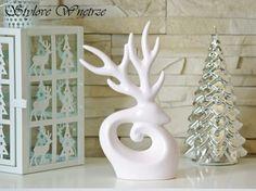 Świąteczna Figurka Renifer Biały