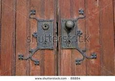 Stock Photo : Antique Door Knob With Hardware