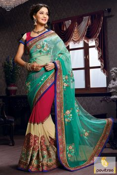 Pavitraa Turquoise, Dark #Pink and Off #White #Embroidery #Sarees Rs 6742.8