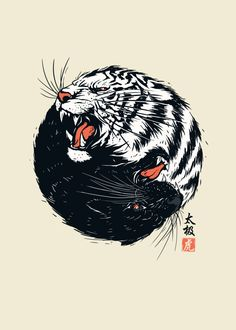Displate Poster Taichi Tiger. tiger #wildcats #japanese #taichi #unique #panther #black #white #ying #yang