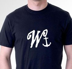 funny t-shirt W#NKER. W with anchor. rude sarcastic slogan tee mens womens