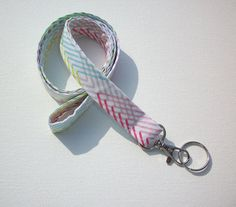 Fabric Lanyard / ID Holder with key ring  crosshatch by Laa766