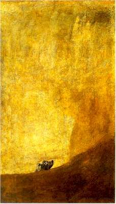 """""""Un Perro Semihundido en la Arena"""" by Goya. The Dog on the Leash (El Perro Semihundido o El Perro en la Arena) Painted 1820 / 21.   A disturbing and undecipherable painting. It belongs to the 14 """"black paintings"""", and it was painted on the wall of one of the Quinta del Sordo's (the House of the Deaf Man) rooms."""