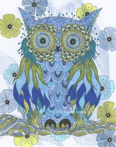 "Whimsical Owl Painting Archival Print 8 X 10 ""Avery"". $21.00, via Etsy."