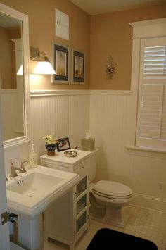 Bathroom trim and wainscoting. Looks like something we've done in our old house and will do again.