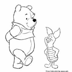 Printabel coloring pages Winnie the Pooh and Piglet