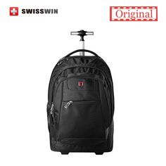 140.00$  Buy now - http://aliil4.worldwells.pw/go.php?t=32556280247 - Swisswin Black Rolling Laptop Backpack SWE1058 20-inch Wheeled Laptop Backpack For Business Travel 140.00$