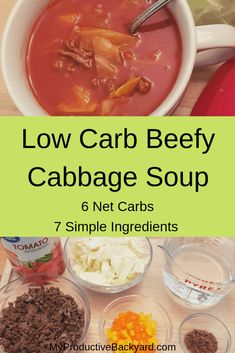 Low Carb Beefy Cabbage Soup can be made on stove top or crock pot. It is a great make ahead meal that can be frozen or canned. Low Carb Beefy Cabbage Soup can be made on stove top or crock pot. It is a great make ahead meal that can be frozen or canned. Low Carb Soup Recipes, Dairy Free Recipes, Keto Recipes, Chili Recipes, Potato Recipes, Yummy Recipes, Vegetarian Recipes, Dinner Recipes, Healthy Recipes
