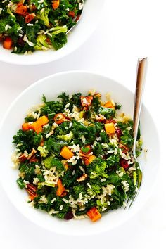 Autumn Kale Salad with Sweet Potatoes, Broccoli and Brown Rice -- a hearty, easy dinner made with my favorite fall flavors! | http://gimmesomeoven.com