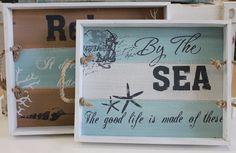 Relax By the Sea Wood Serving Trays - Coastal Kitchen Decor - California Seashell Company