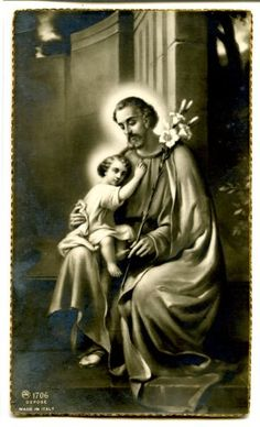 A very lovely image of St. Joseph and the Christ Child. This website has many other beautiful prayer card images. Religion Catolica, Catholic Religion, Catholic Saints, Roman Catholic, Religious Pictures, Jesus Pictures, Vintage Holy Cards, Catholic Prayers, Holy Family