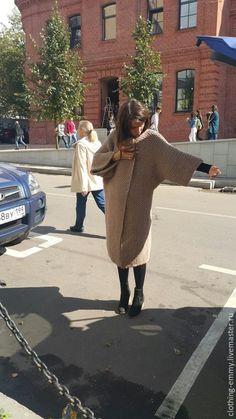 Купить Вязаное шерстяное пальто - бежевый, однотонный, пальто, вязаное пальто, пальто женское