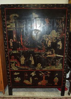 19th Century Black Lacquered Chinese Cabinet