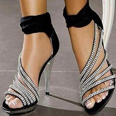 Shinning Rhinestone Leatherette Platform Stiletto Heel Sandals Heels Wedding Shoes - May Your Fashion - 1