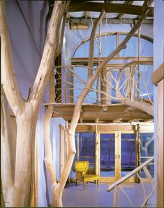 this home uses whole trees for the architecture