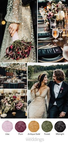 Using darker tones mixed with metallic colors are sure to create a enchanting color palette for your big day! #Plum #Purple #Gold #Silver #Blush #ColorPalette #Wedding #WeddingColors #WeddingIdeas #Printable #Weddings #ColorScheme | Martha Stewart Weddings