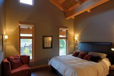 This amazing home was built on Alpine Trails, in Fernie, British Columbia. It was designed by Sticks & Stones Design Group based out of Canmore and features modern efficiencies and a hybrid timber frame. Dream Bedroom, Master Bedroom, Home Goods, Trail, Bedrooms, Building, Modern, Furniture, Design