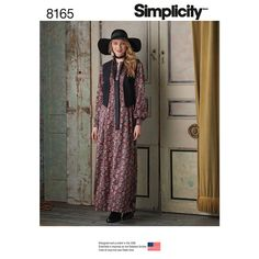 Misses Maxi Dress with Lined Vest and Tie Simplicity Sewing Pattern 8165.