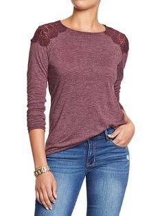 Women's Lace-Shoulder Tees Product Image