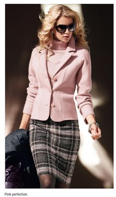 A work outfit - I like the combination of pink and grey (It reminds me of the outfits I used to wear for work before I became a mother). The style is classic even though the colours are girly.