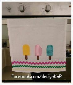 Pano de pratos sorvete (picolé) Pano de copa #designKeR