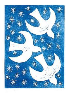 Snow Birds Linocut Print by glynwestdesign on Vogel Illustration, Winter Illustration, Christmas Typography, Linoprint, Chalk Pastels, Textile Artists, Linocut Prints, Xmas Crafts, Christmas Art